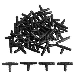 50Pc Arrosage 4//7mm Tee Tuyau Barb Raccord goutte à goutte Système Noir US