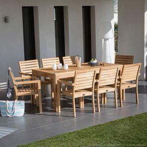 Salon de jardin 8 places en teck brut : table extensible + 8 ...