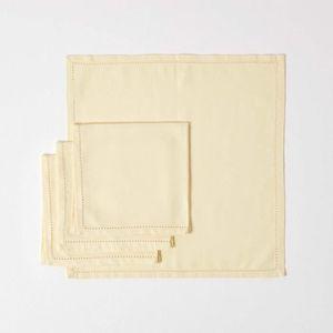 SERVIETTE DE TABLE Lot de 4 serviettes de table 100% coton  Crème