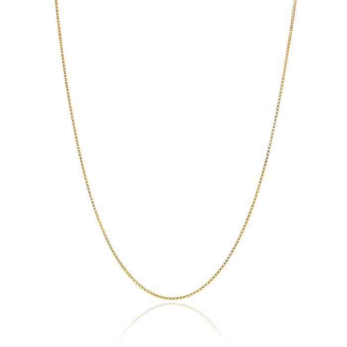 Chaine De Cou Vendue Seule V231X Women's 18k Gold Over Sterling Silver .8mm Thin Italian Box Chain Necklace 14- - 40-