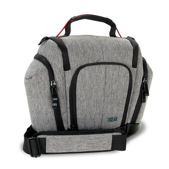 USA Gear Sacoche Housse Semi-rigide Appareil Photo Réflex avec Pochettes Latérales pour Objectifs Pour Canon EOS 1300D , 700D