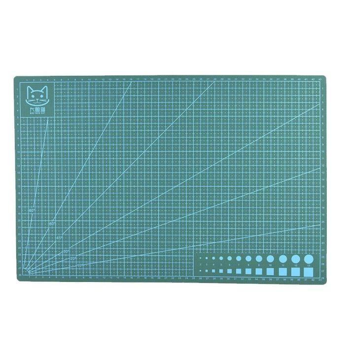 Tapis de découpe en PVC de lignes de grille A3 Planche à découper en tissu en cuir à papier auto-cicatrisant (Vert)-LAT