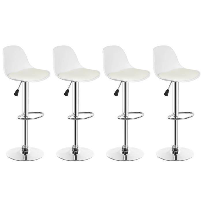WSdwqaa!!! 4PCS!Tabourets de Bar Chaise de Bar Coussin PU - Blanc - Peut pivoter à 360° - Moderne Design