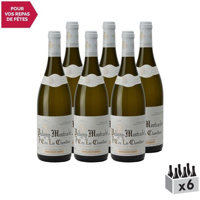 Puligny-Montrachet 1er Cru Clavaillon Blanc 2018 - Lot de 6x75cl - Domaine Jean-Louis Chavy - Vin AOC Blanc de Bourgogne - Cépage