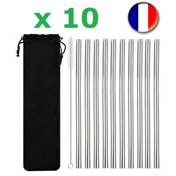 Lot De 10 Pailles Inox + Brosse Ecouvillon - 21 x 08 cm - Acier Inoxydable