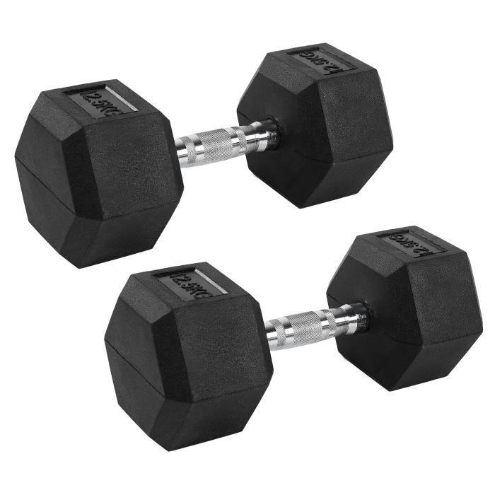 KIMISS 12,5 kg haltère en caoutchouc hexagone exercice haltère maison gym entraînement équipement de remise en forme sans défilement