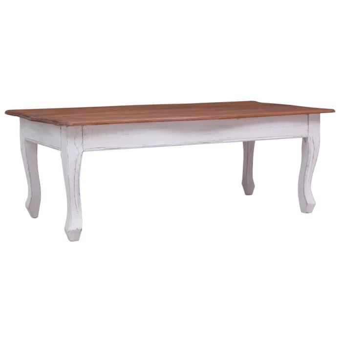 Table de salon - Table basse style contemporain Blanc 120 x 60 x 45 cm Bois d'acajou massif
