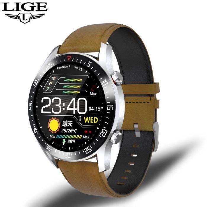 Plein écran tactile hommes montre intelligente fréquence cardiaque surveillance de la pression artérielle étanche s - Brown - WL4057