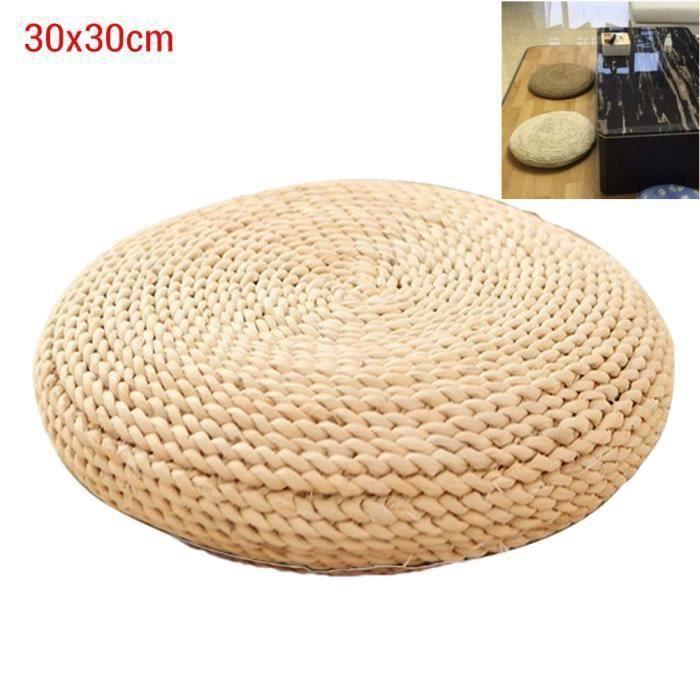 SURENHAP Coussin rond en paille de yoga méditation Tapis de sol rembourré en soie 30 * 30cm (cosse de maïs)