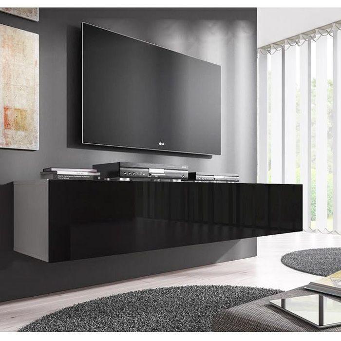 Meuble TV Forli XL (160 cm) blanc et noir