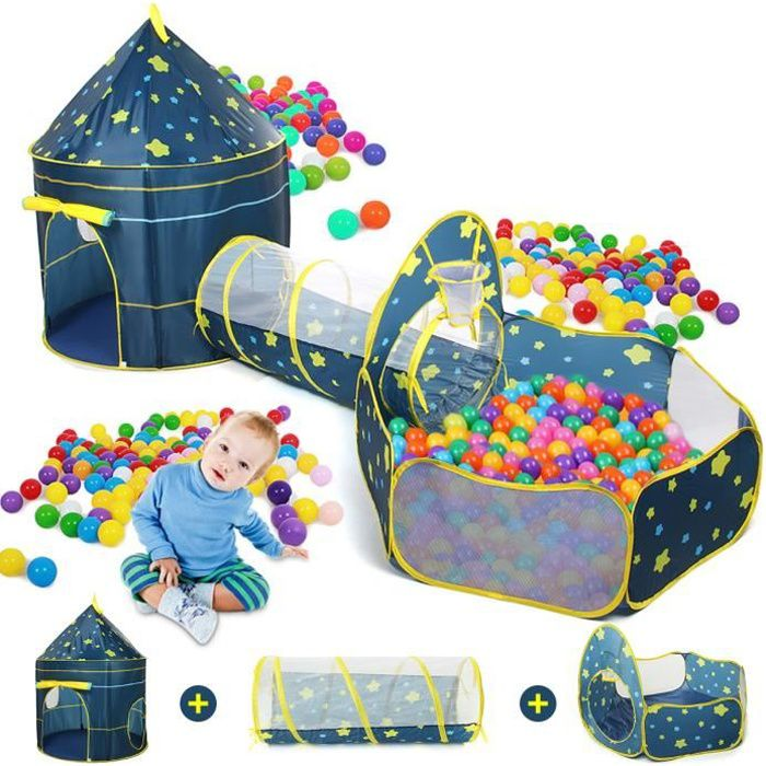 3 In 1 Tente à Balles pour Enfants Bébé Piscine à boules avec Tunnel Maison de Jouet Ocean World sur le thème Bleu