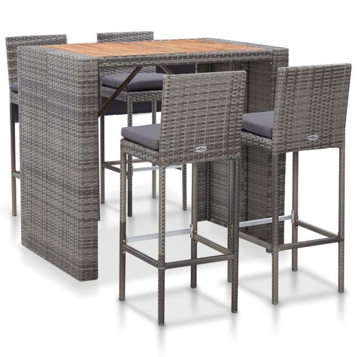 Ensemble Table de bar + 4 tabourets bar Mange-Debout Table Haute - Résine tressée et bois d'acacia Gris