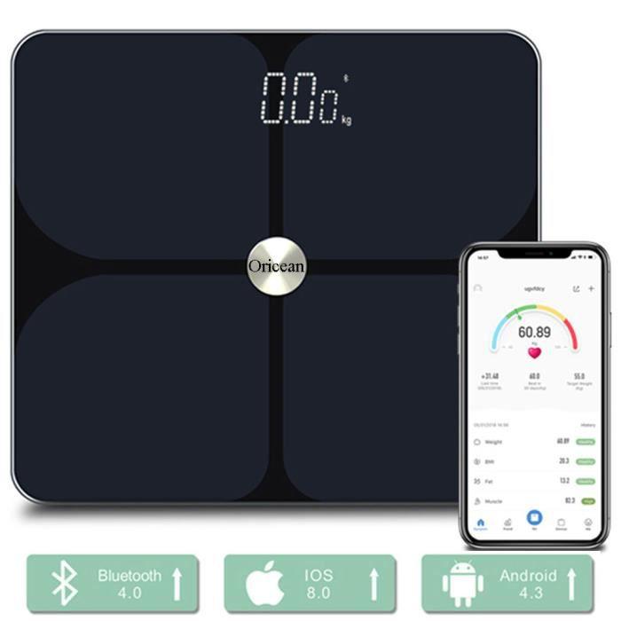 Oricean Pèse Personne Impédancemètre, Balance Connectée avec 24 Données Corporelles (BMI/BFR/Muscle/Eau/Graisse Corporelle/Masse oss