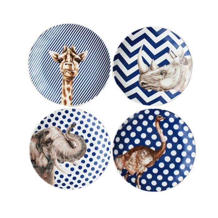 Assiette,Service de vaisselle en céramique, série d'animaux créatifs de Style européen, cadeau de mariage - Type 4Pcs Tableware