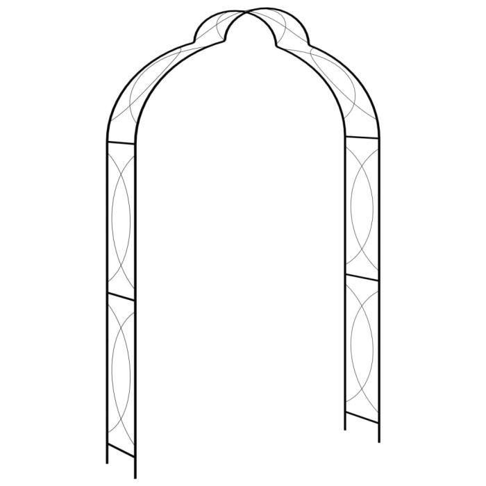 ⛺3489Super Magnifique Voûte de jardin pour Plantes Grimpantes et Rosiers Décor - Arceau de jardin Pergola à appentis - Noir 150x34x2