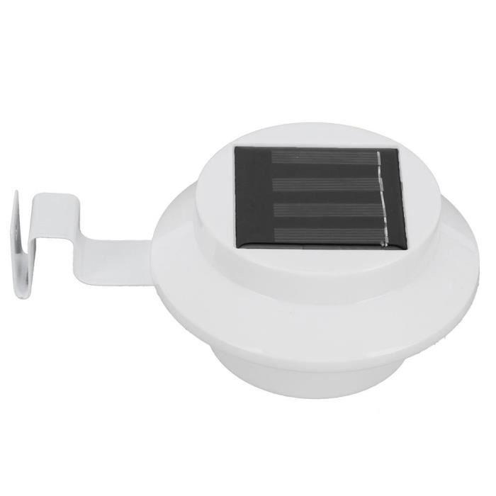 ARAMOX Lumière LED Lumière de Clôture Solaire Blanche 3LED Lampe Avant‑toits Éclairage Lumière Blanche pour Jardin Extérieur