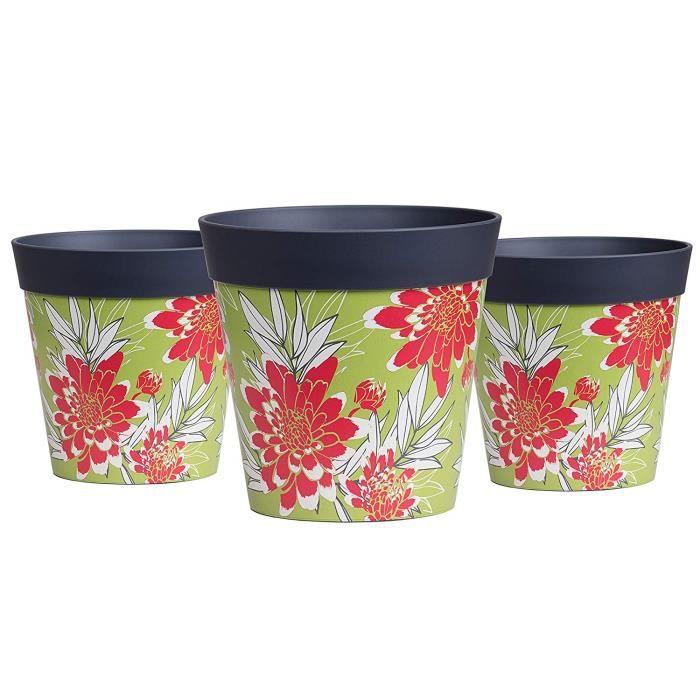 Hum Flowerpots Ensemble De 3 Pots De Fleurs Colorés, Gris Vert