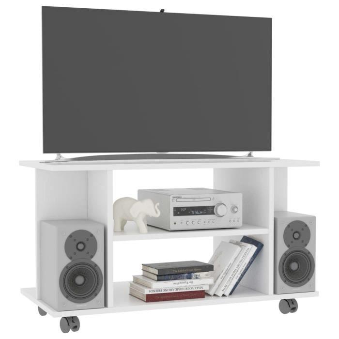 SIB Meuble TV avec roulettes Blanc 80 x 40 x 40 cm Aggloméré