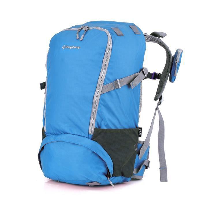 KING CAMP Sac à dos de randonnée Andros 60 - 60 litres - En nylon PU - Bleu