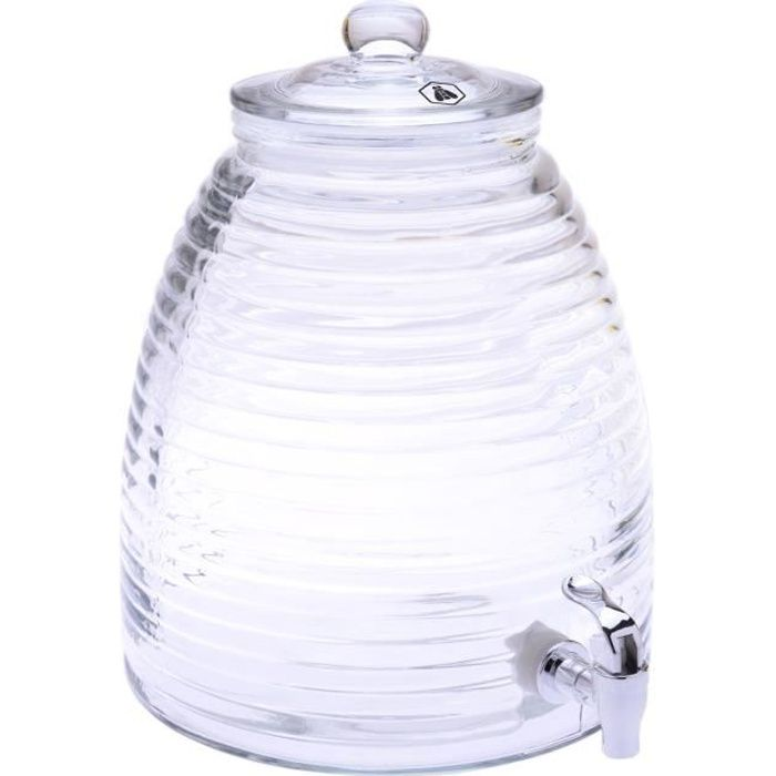 Fontaine à boissons en verre avec bec verseur - Contenance 10L
