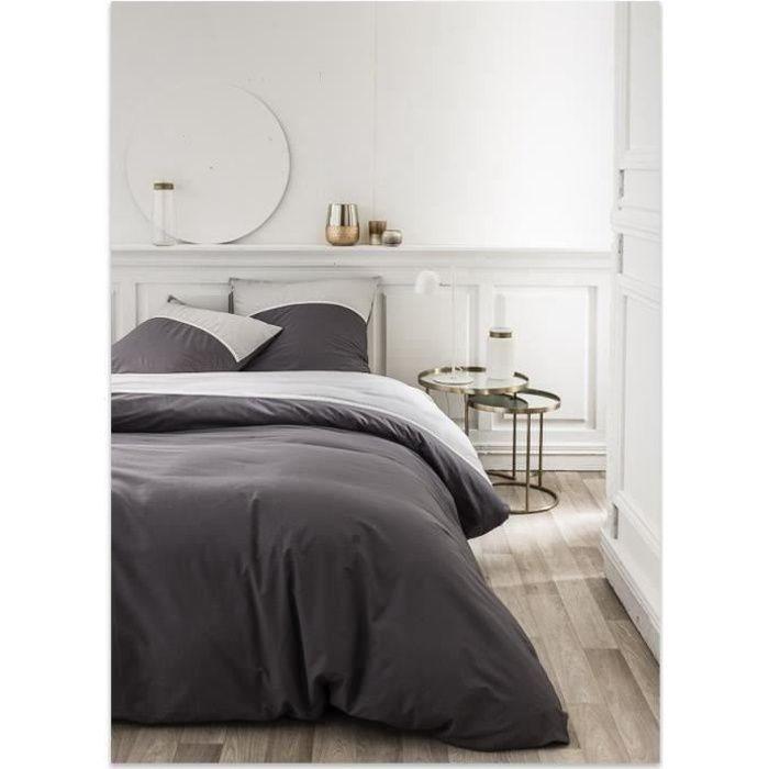 TODAY Parure de lit 220X240 2 personnes Percale bicolore gris PREMIUM TODAY