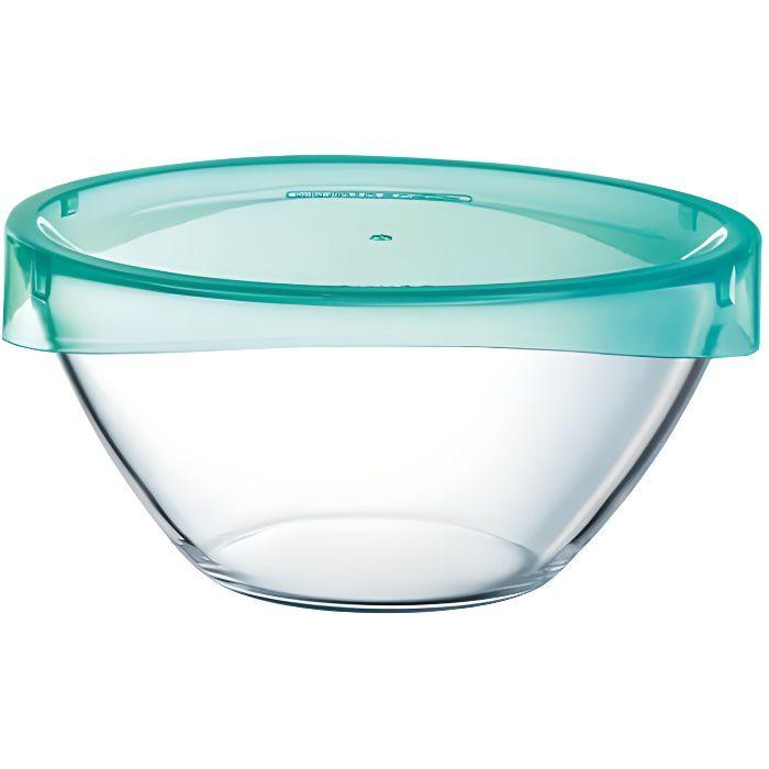 LUMINARC Saladier + couvercle Keep'n bowl T 17 cm transparent et vert