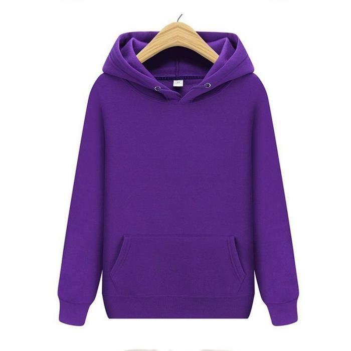 Sweat,Sweat à capuche mode femmes produits de noël couleurs solides sweats à capuche taille S XXXL - Type Violet