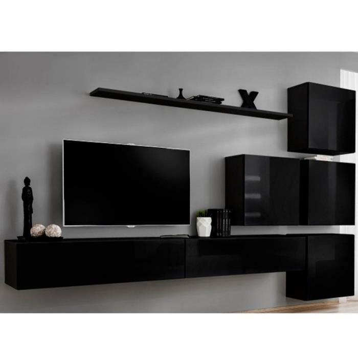 Meuble Tv Mural Design -switch Ix- 310cm Noir - Paris Prix