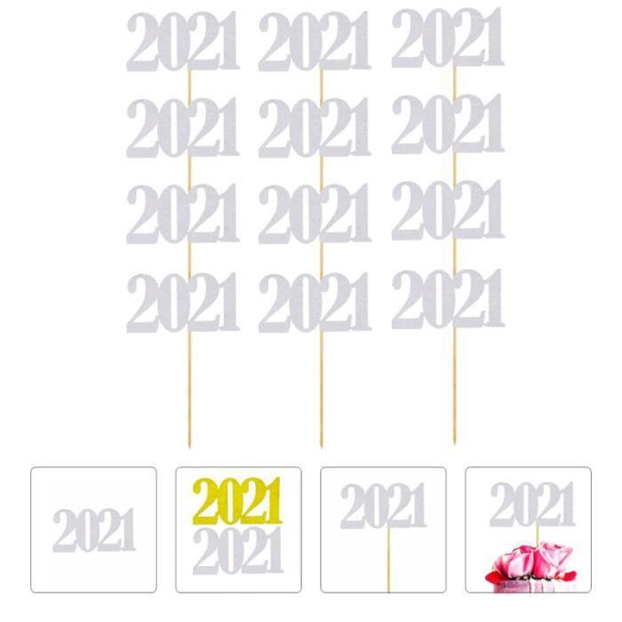 12pcs 2021 Décorations de Gâteaux Paillettes Festives Pour Le Nouvel An (Doré) brioches crepes gauffres gateaux moelleux