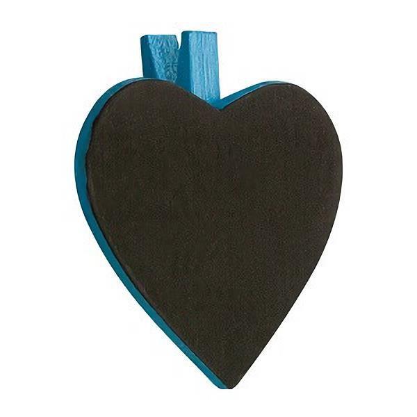 Ardoise coeur sur pince bleu turquoise (x6) REF/2937