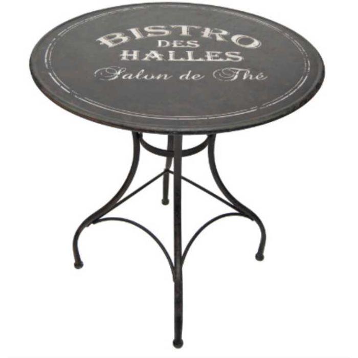 Table ronde en métal bistro des halles 76x72cm