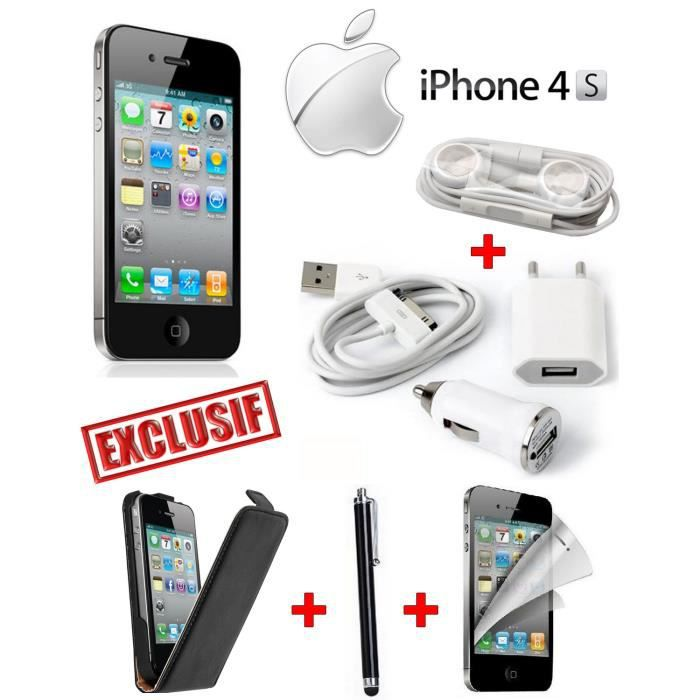coffret complet apple iphone 4s noir 16 giga achat smartphone pas cher avis et meilleur. Black Bedroom Furniture Sets. Home Design Ideas