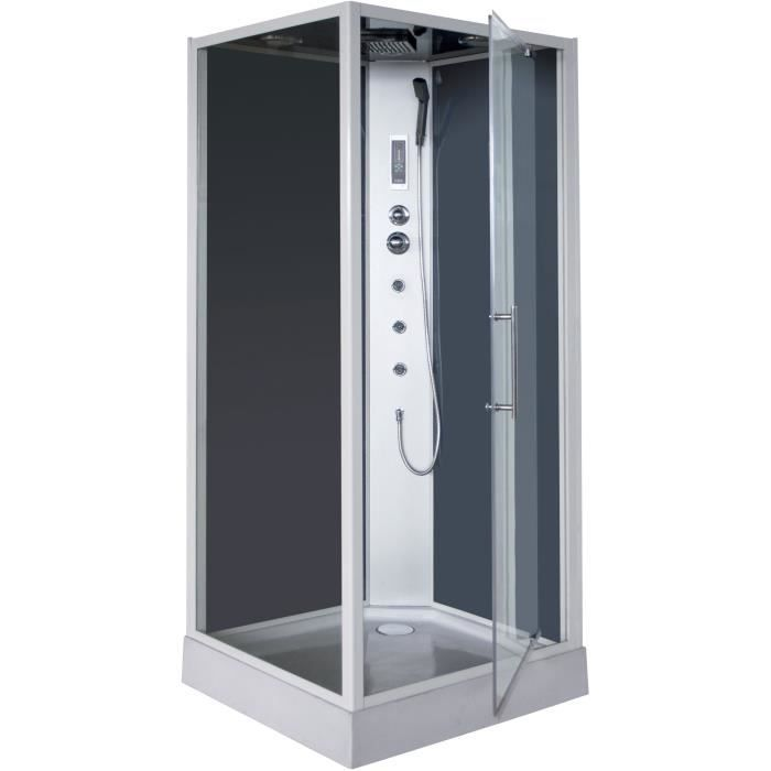 cabine de douche hydromassante niky grise 90x90cm achat. Black Bedroom Furniture Sets. Home Design Ideas