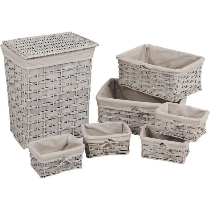 panier linge 6 corbeilles en osier gris achat. Black Bedroom Furniture Sets. Home Design Ideas