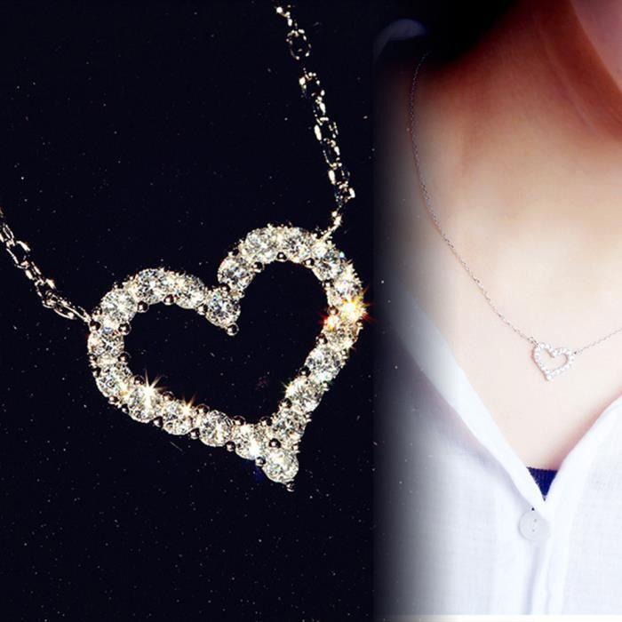 Fashion Ailes d/'Ange Amour Coeur Strass Pendentif Femmes Collier Bijoux Hot