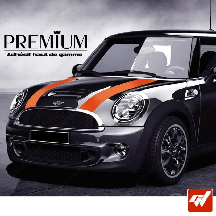 kit bandes de capot orange mini cooper john cooper roue vitre sticker autocollant. Black Bedroom Furniture Sets. Home Design Ideas
