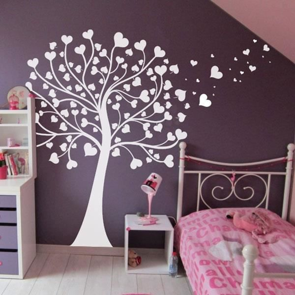 sticker arbre coeurs blanc 130x120 cm achat vente stickers cdiscount. Black Bedroom Furniture Sets. Home Design Ideas