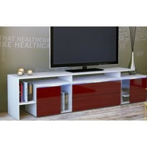 meuble tv design laqu blanc et bordeaux oui achat vente meuble tv meuble tv design. Black Bedroom Furniture Sets. Home Design Ideas