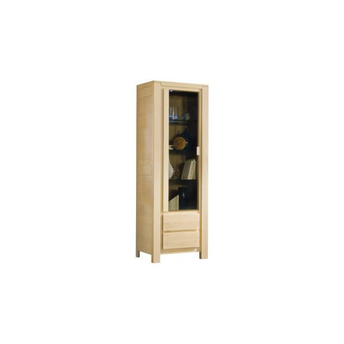 vitrine ch ne blanchi 2 portes 2 tag res verre achat. Black Bedroom Furniture Sets. Home Design Ideas