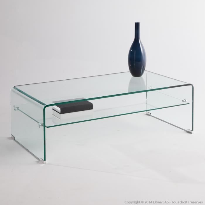 table basse rectangulaire en verre tremp longueur 110 cm cristal achat vente table basse. Black Bedroom Furniture Sets. Home Design Ideas