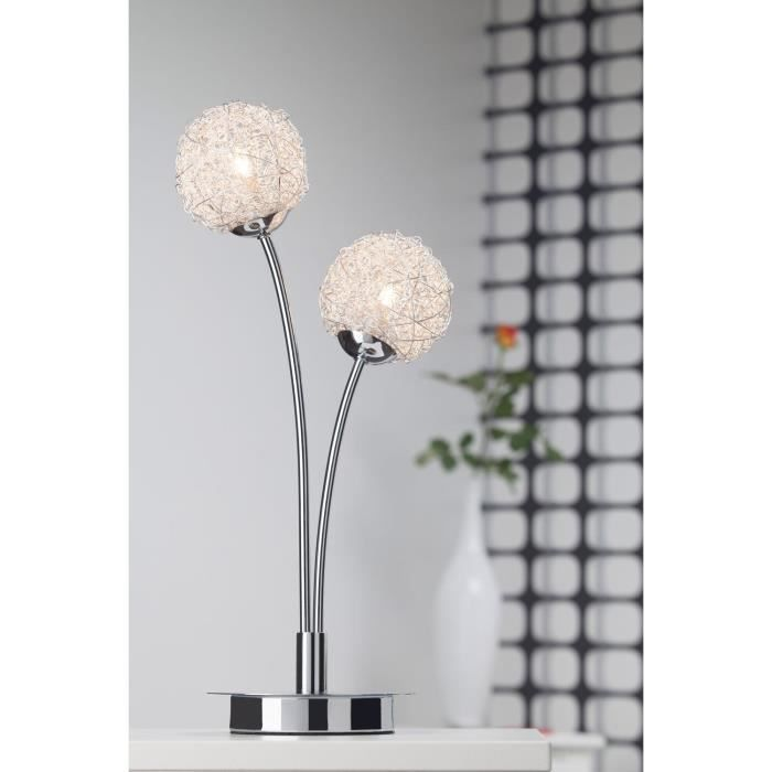 lampe poser 2 lumi res coloris chrome achat vente lampe poser 2 lumi res m tal cdiscount. Black Bedroom Furniture Sets. Home Design Ideas