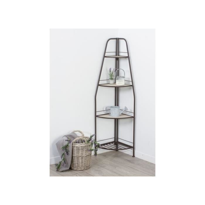 etagere angle industry 4 niveaux metal bois achat vente meuble tag re etagere angle. Black Bedroom Furniture Sets. Home Design Ideas
