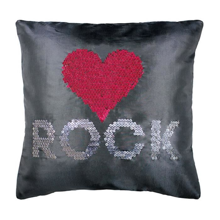 paris prix housse de coussin strass love rock achat. Black Bedroom Furniture Sets. Home Design Ideas