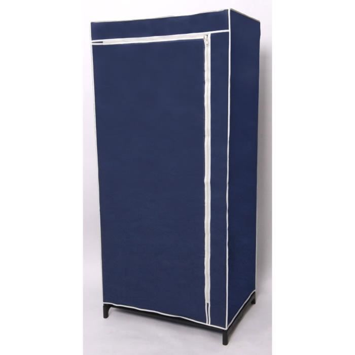 garde robe armoire en tissu coloris bleu h75 x achat vente porte manteau cdiscount. Black Bedroom Furniture Sets. Home Design Ideas