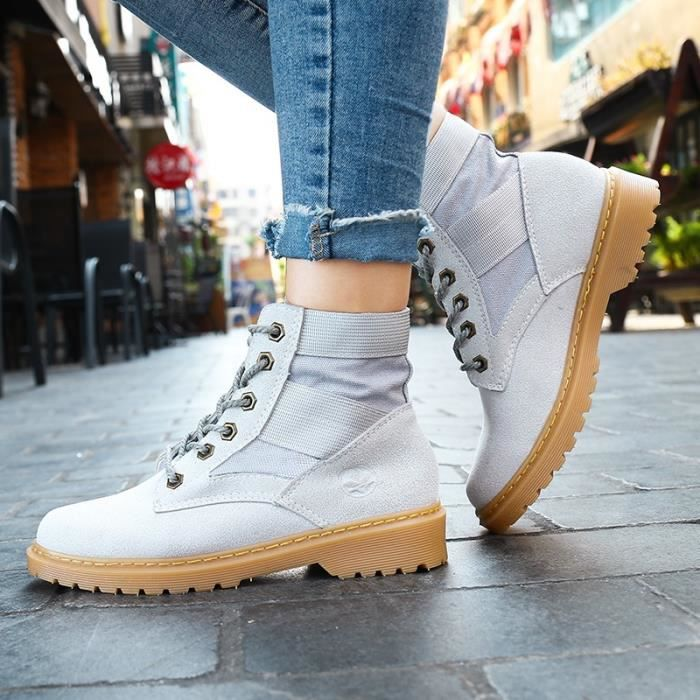 Botte Femme femmes Tendance Fashion High Top Roung Toes Skater Martinblanc taille6.5