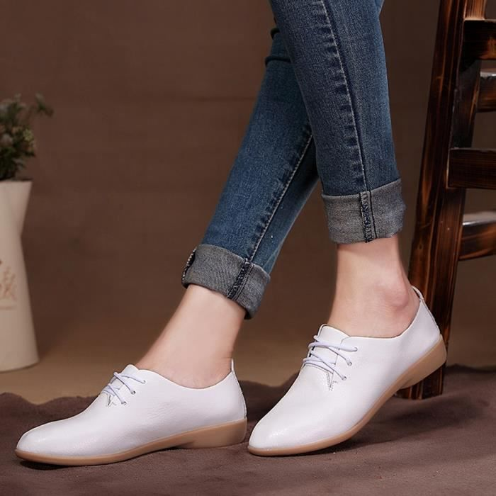Mode Chaussures Sneakers Femmes blanc Loisirs Plates Bout Rond Slip De Plates formes 5xwarnvWTx