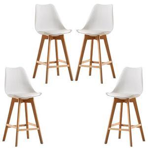 TABOURET DE BAR  Lot de 4 chaises de Bar Scandinaves avec Coussin