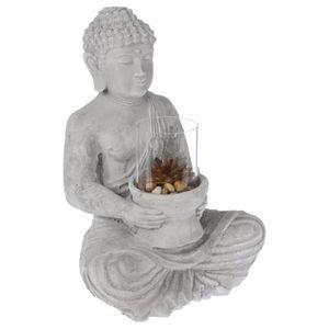 PHOTOPHORE - LANTERNE Photophore Bouddha Assis en Ciment 41cm Gris