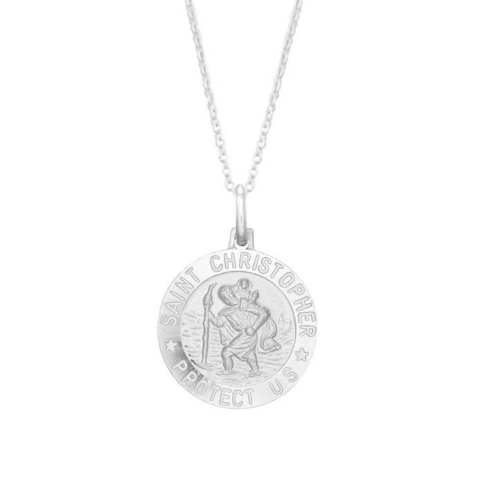 Chaine De Cou Vendue Seule Argent Femmes Sterling Saint St Christophe Médaille ronde collier pendentif (12mm, 15mm, 19mm et 24mm QPT