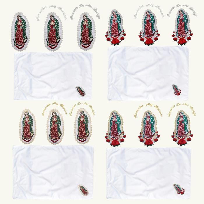 Drap Plat Lit Bebe New Born Baby Shower Boy Girl Christening Baptism White Blanket Lady Guadalupe A21GC
